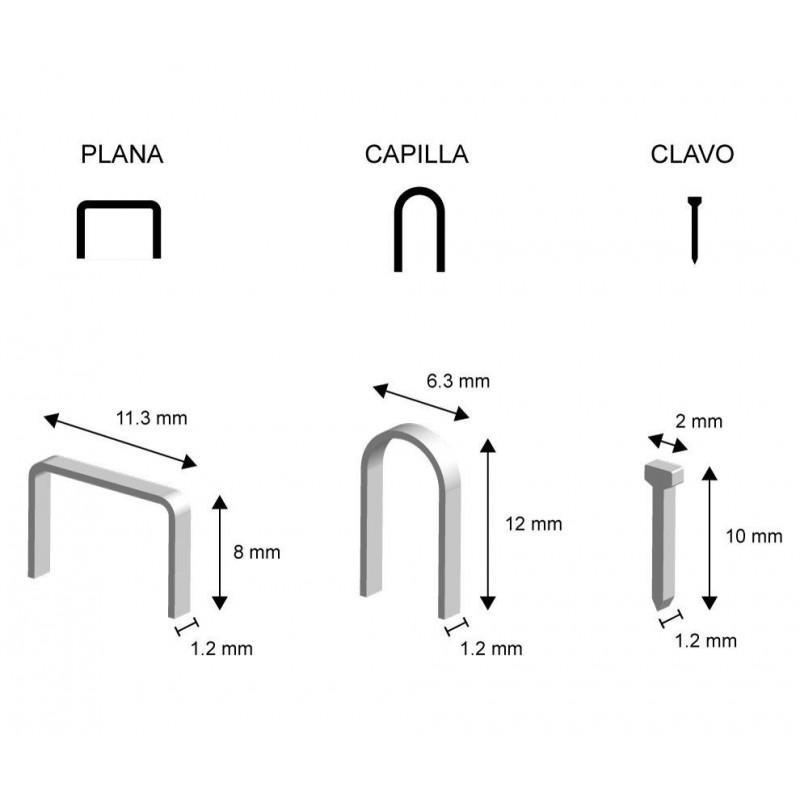 GRAPAS TIPO PLANA, CAPILLA Y CLAVO