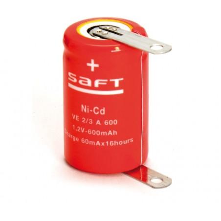 Batería recargable 1,2V 600mA Ni-Cd 1/2A, 2/3A
