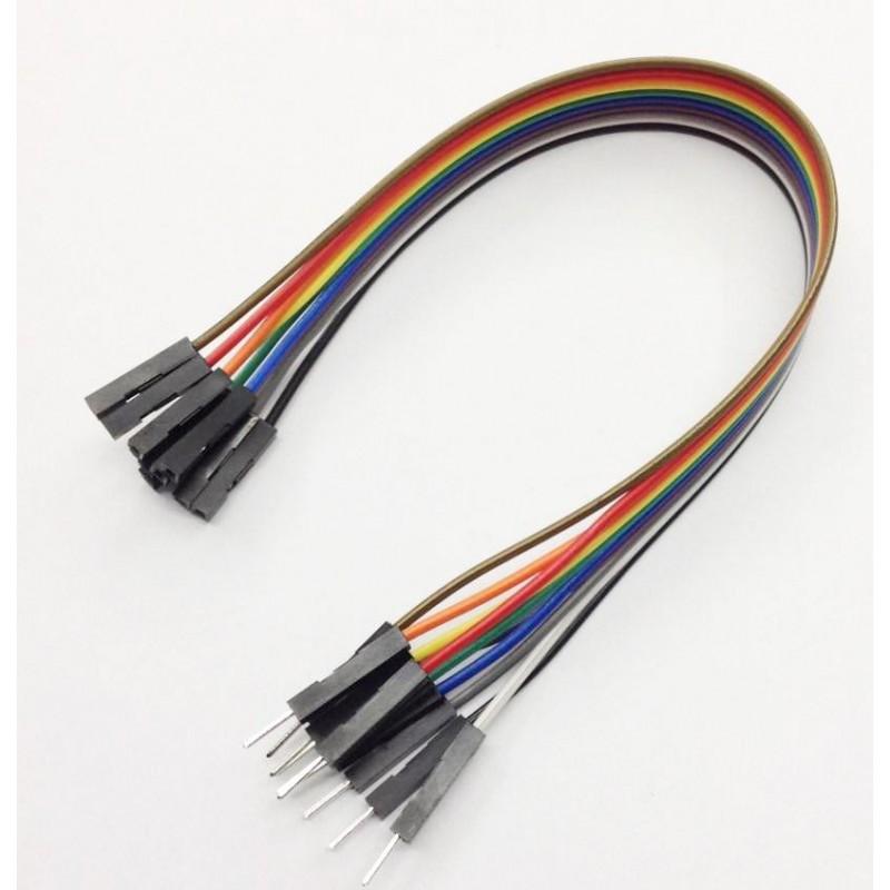 Juego 10 cables macho-hembra 200mm varios colores