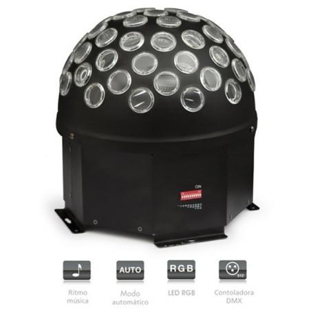 Semiesfera con 1 LED RGB de 3 W con 32 rayos móvil