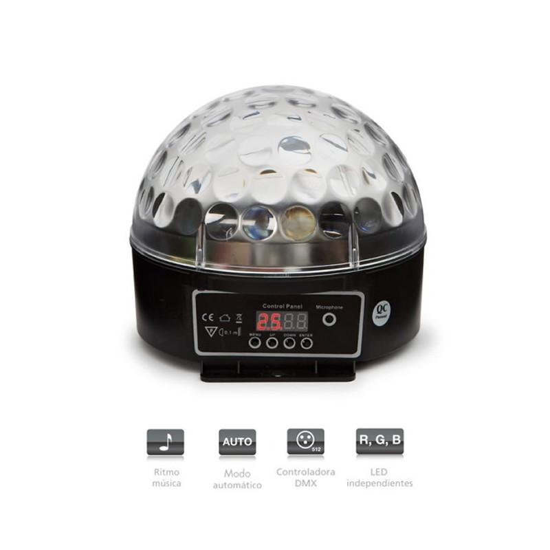 Semiesfera con 3 LED RGB de 3 W con 82 rayos móvil