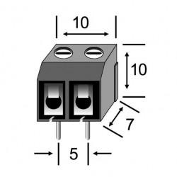 REGLETA CLEMA PCB PASO 5mm 2 CONTACTOS