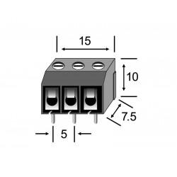 REGLETA CLEMA PCB PASO 5mm 3 CONTACTOS