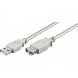 CONEXION USB MACHO - USB  HEMBRA TIPO A 5 METROS