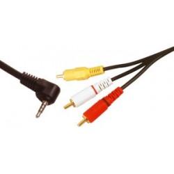 Conexion audio y video jack 4 polos a 3 RCA macho.