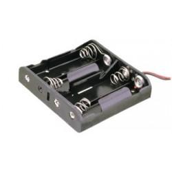 Portapilas plano para 4 pilas de 1'5V AA (6V).