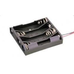 Portapilas plano para 4 pilas AAA con cable