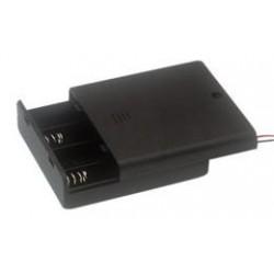 Portapilas contapa e interruptor para 4 pilas AA