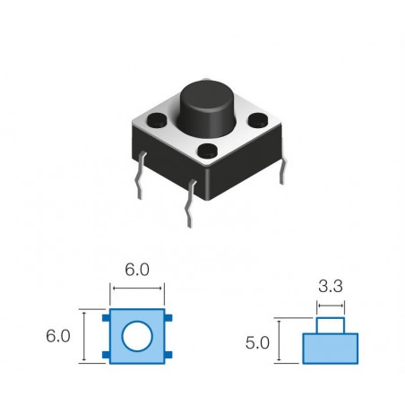 SW060 Pulsador circuito impreso 5mm altura