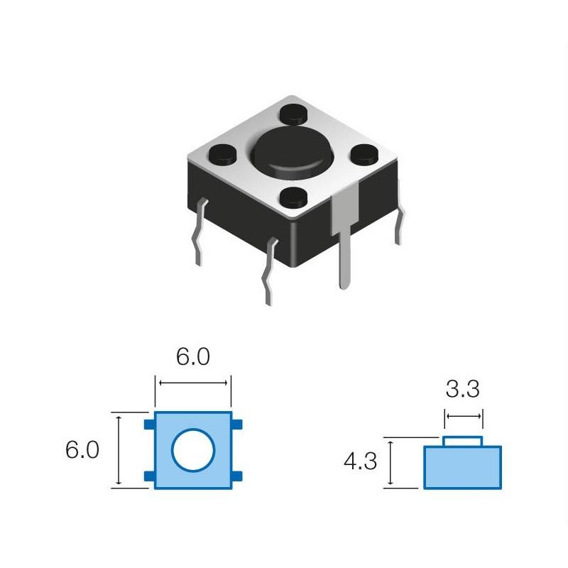 SW063 Pulsador circuito impreso 4,3mm altura