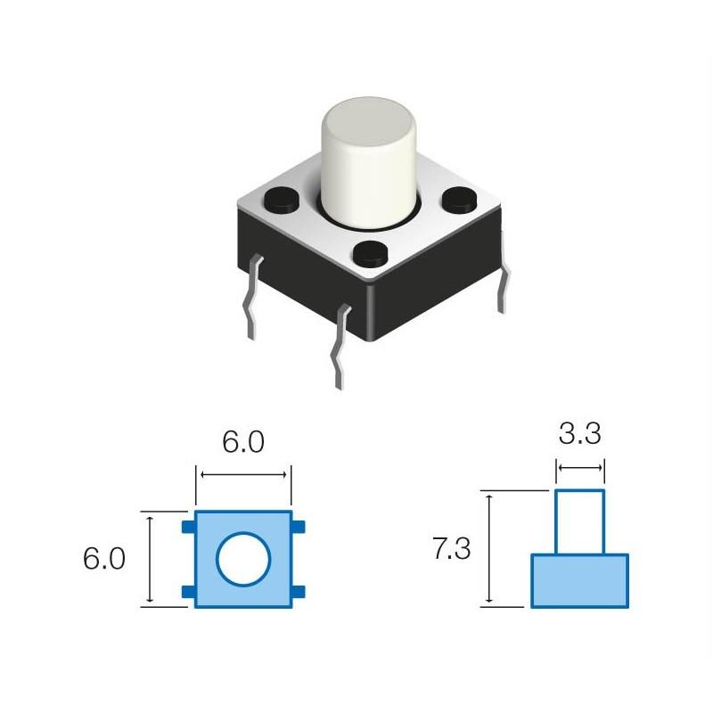 SW064 Pulsador circuito impreso 7,3mm altura