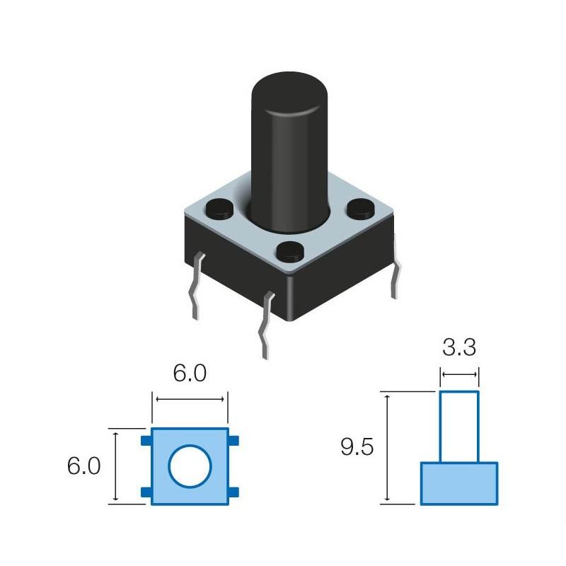 SW066 Pulsador circuito impreso 9,5mm altura