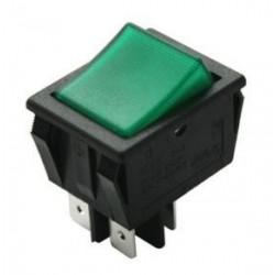 Interruptor bipolar luminoso tecla verde.
