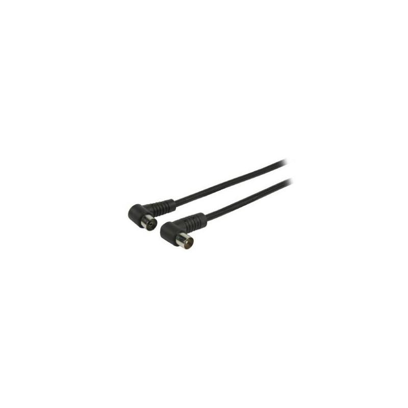 Cable de antena TV macho - hembra acodados negro.