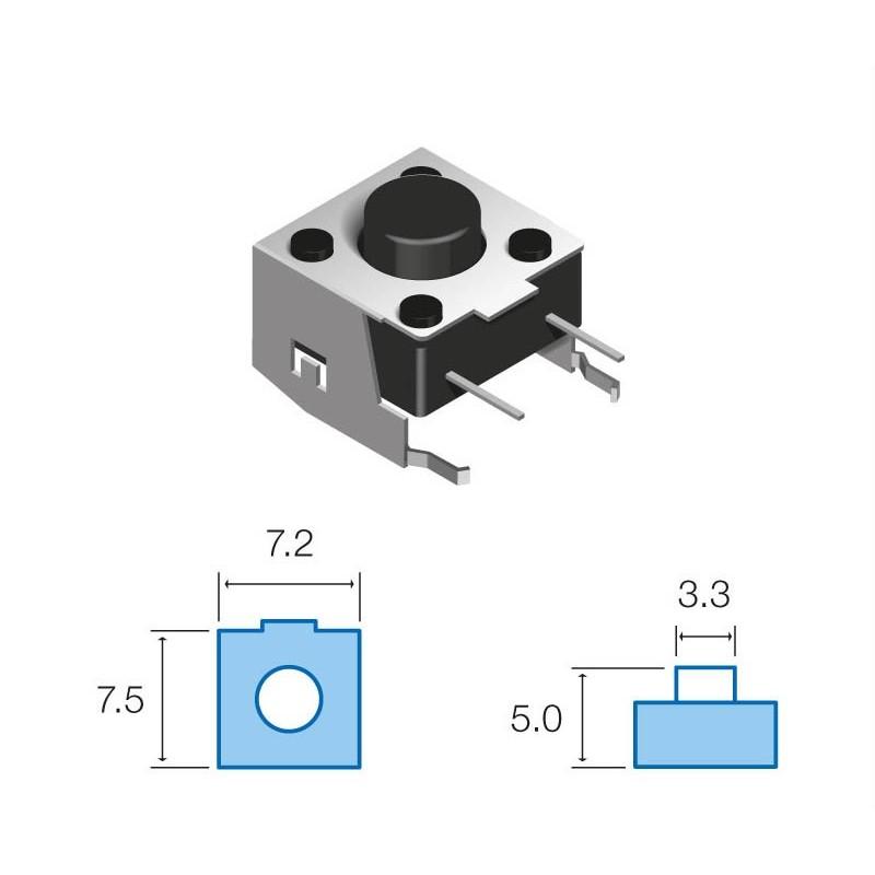 SW070 Pulsador circuito impreso horizontal