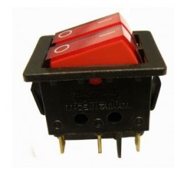 Interruptor doble luminoso rojo 2P 2C 250v 10A