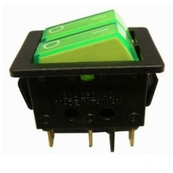 Interruptor doble luminoso verde 2P 2C 250v 10A