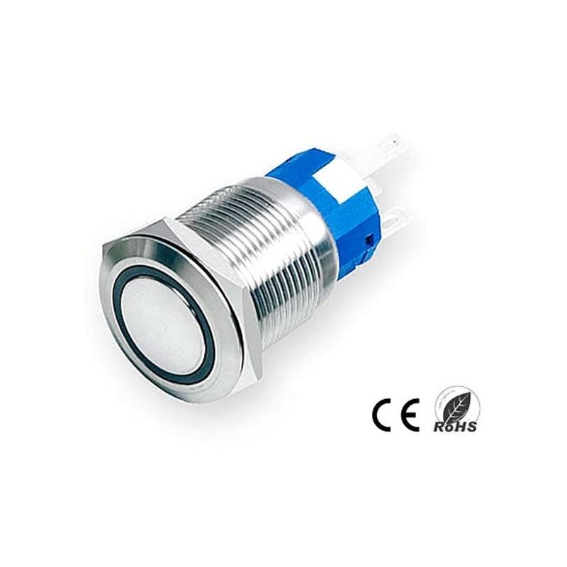 Pulsador Anti-vandálico, N/A SPDT, LED 12V Azul