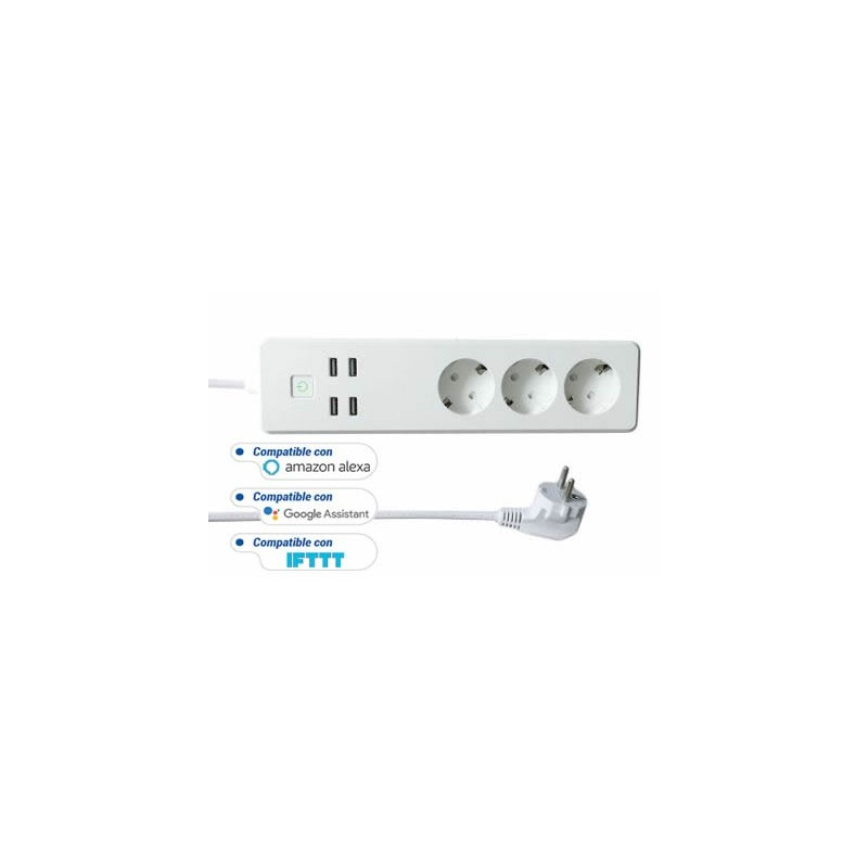 BASE MULTIPLE INTELIGENTE 3 TOMAS+4 USB WOOX R4028