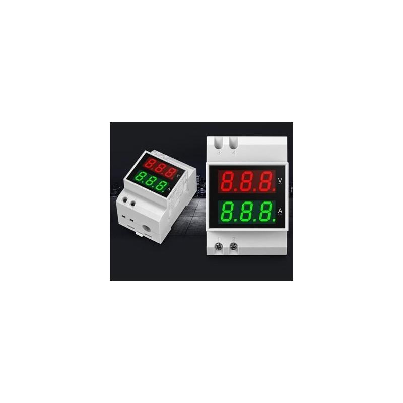 VOLTIMETRO+AMPERIMETRO 200-450V CT-200A CARRIL DIN